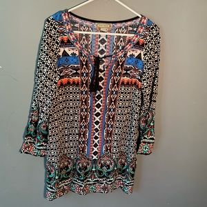 Flying Tomato Dresses - Flying Tomato Long Sleeve Tunic Dress Aztec